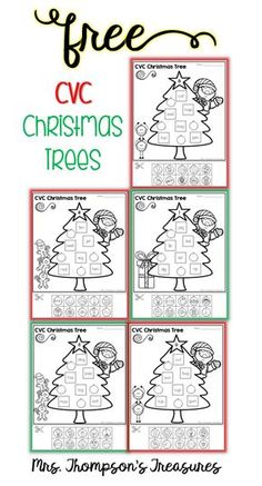 Free Christmas Trees CVC Match Anytime I can add in elements of a seasonal theme my kids suddenly become more interested! Which was exactly this case when I made these Christmas Tree Cut & Paste pages for my kindergartner to practice her CVC words! She wa Christmas Activities, Christmas Themes, Classroom Activities, Christmas Christmas, Classroom Freebies, Work Activities, Holiday Crafts, Christmas Worksheets, Kindergarten Literacy