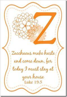 Memory Verse Cards - Z - Luke 19:5