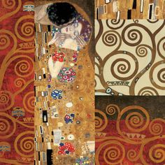 Deco Collage Detail (from The Kiss)  Art Print  by Gustav Klimt