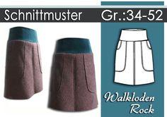Schnittmuster/Ebook Walkloden Rock Gr:34-52