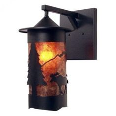 Steel Partners Moose 1 Light Outdoor Wall Lantern Finish: Mountain Brown, Shade Type: Bungalow Green