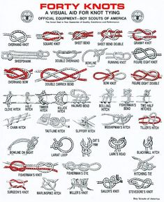 Forty survival knots to use in various situations from the Boy Scouts of America. Outdoor Survival, Survival Tips, Survival Skills, Survival Knots, Wilderness Survival, Survival Weapons, Survival Stuff, Outdoor Camping, Survival Bracelets