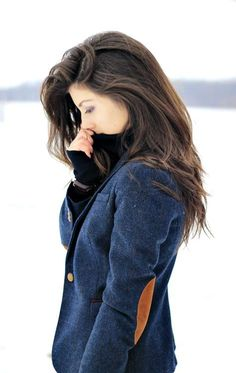 long hair winter style  Love the jacket!