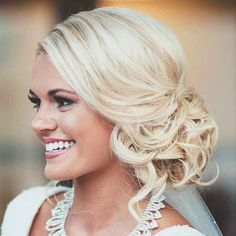 low bridal updo with soft curls ~ we ❤ this! moncheribridals.com