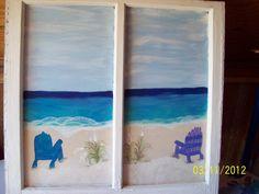 Ocean scenery Hand painted wooden window by me