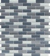 Vintrav Slate Grey 1/2 in. x 2 in. Glass Mosaic Tiles