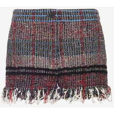 Thakoon Tweed Shorts (€610) ❤ liked on Polyvore featuring shorts, multi, zipper shorts, thakoon, black fringe shorts, fringe shorts and tweed shorts