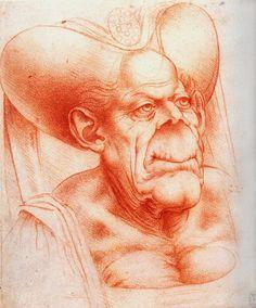 """Leonardo da Vinci. """"Cabeza grotesca"""""""