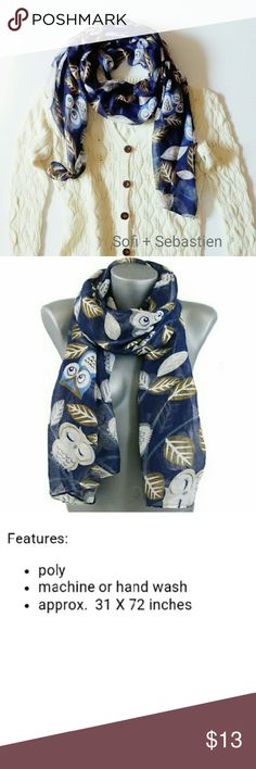 Cute owl scarf Autumn leaves nature lover gift Blue  Sorry, NO TRADES  Price firm unless bundled   Save money and bundle!  Save 10 percent on any bundle of 2 or more items! Sofi + Sebastien  Accessories Scarves & Wraps