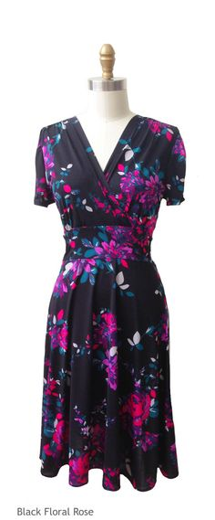 Our Megan dress, with its short sleeves, surplice V front bodice, detailed gathers in the back, full swirl skirt and knee length hem, is a great option for those cooler spring nights. Shown here in the black floral rose print, Megan is the perfect dress for women of all shapes and sizes.