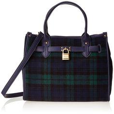 $128.00 Tommy Hilfiger Heritage Lock Plaid Wool 6925576 Shoulder Bag,Navy/Green,One Size