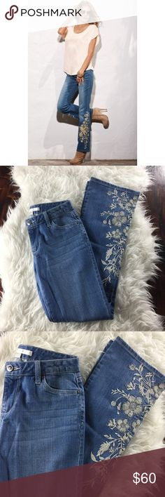 Boston proper embellished jeans Boston proper embellished jeans in great condition. Beautiful floral embellishment on legs. Boston Proper Jeans Boot Cut