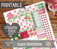 August Monthly View Stickers Watermelon Printable Planner EC