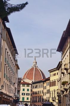 View of the dome of the cathedral of Florence from Pietrapiana street, Italy