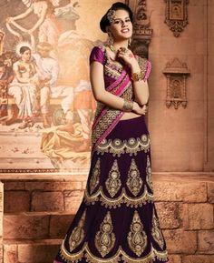 Buy Sparkling Deep Violet & Fuchsia Lehenga Saree [ADF32027] at $183.63