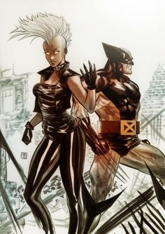 Storm and Wolverine by Marcio Takara *