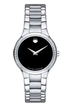 Movado 'Serio' Black Dial Diamond Bracelet Watch, 26mm available at #Nordstrom