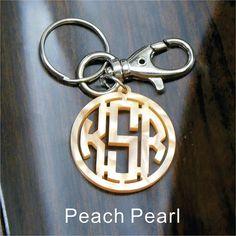 Monogram Gift Acrylic Monogram KeyChain Peach by MonogramZone