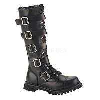 20 Eyelet 5 Strap S/T Blk Leather Knee Boot