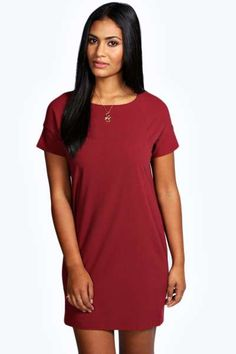 Laura Panel Sleeve Crepe Shift Dress at boohoo.com to wear on Christmas Day