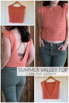 How fun is this Summer Valley Crochet Top Pattern? The back is completely open, which makes it totally perfect for summer! I wore a pretty bralette for the open back. A tank top would work great… Crochet Bodycon Dresses, Black Crochet Dress, Crochet Shirt, Knit Crochet, Crochet Motif, Freeform Crochet, Crochet Vests, Easy Crochet, Crochet Designs