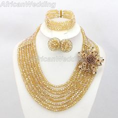 8-Row Gold African Nigerian Wedding Crystal Beads Necklace Set,Nigerian African Beaded Jewelry Set,African Nigerian Beads Necklace.$42.8