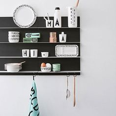 Design Letters' Black Paper wall shelf features thin steel shelves that give it a lightweight and streamlined expression. The minimalist, geometrical shelves are perfect for storage and decoration in the living room, kitchen, hallway and bedroom alike. Lettering Design, Design Letters, Home Decor Inspiration, Kitchen Inspiration, Collections Of Objects, Black Paper, Scandinavian Design, Bookcase, Furniture Design