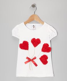 White & Red Rosette Heart Tee - Toddler & Girls | Daily deals for moms, babies and kids