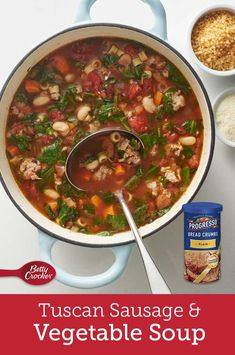 When you don't know what's for dinner but it needs to be comforting, we suggest this soup. It has a brothy tomato base that's loaded with rich Italian sausage, sweet carrots, caramely onions, tender cannellini beans, silky spinach and just the right amount of pasta. Bowl Of Soup, Soup And Salad, Brothy Soup Recipes, Stove Top Meatloaf, Sweet Carrot, Sausage Soup, Jamaican Recipes, Cooking Recipes, Healthy Recipes