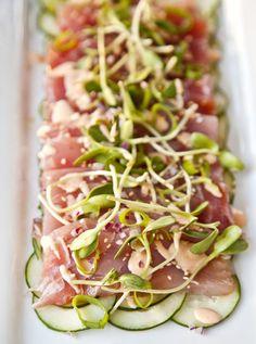 UrbanCookery - Tuna Sashimi with Ponzu Sauce Seafood Dishes, Fish And Seafood, Seafood Recipes, Appetizer Recipes, Dinner Recipes, Appetizers, Sushi Recipes, Asian Recipes, Cooking Recipes