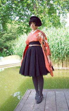 "dentelle-rubans: "" I totally forgot about the contest. I suppose I should share it still. I kinda entered NHK's kawaii leader contest, just because. Harajuku Fashion, Japan Fashion, Kawaii Fashion, Lolita Fashion, Cute Fashion, Moda Lolita, Modern Kimono, Japanese Outfits, Japanese Street Fashion"