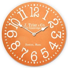 Tangerine Orange Clock Choose A Size Large Wall
