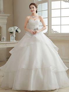 Vestido de Noiva - Marfim Baile Coração Comprido Organza - BRL R$304,76