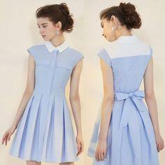 Retro Vintage Blue Pinstripe Pleated Boho Chic Casual Shirt Dresses SKU-401285