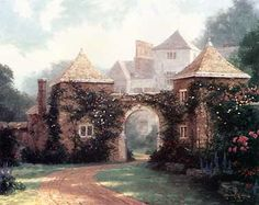 Entrance to The Manor House ~ Thomas Kinkade