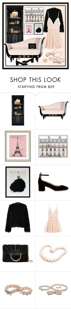 """""""Blush and Black Color Scheme Contest Entry"""" by onesweetthing ❤ liked on Polyvore featuring Hooker Furniture, Vintage Print Gallery, Aquazzura, Samsøe & Samsøe, Alexander McQueen, STELLA McCARTNEY, Hiho Silver and Effy Jewelry"""
