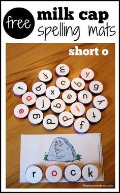 Phonics practice activity - spell with milk caps (free printable!)