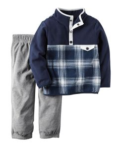 Featuring a pieced plaid pullover and easy-on pants, he's cozy in fleece on cold winter mornings!