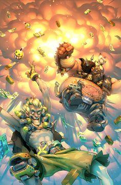 Overwatch Junkrat and Roadhog comic, Gray Shuko on ArtStation at https://www.artstation.com/artwork/L80zk