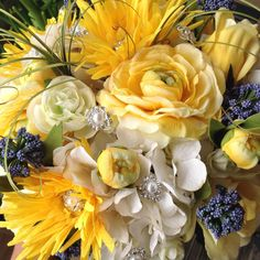 Beautiful Bridal bouquet of mixed shades of yellow and blue by VictoriaGreenFlowers
