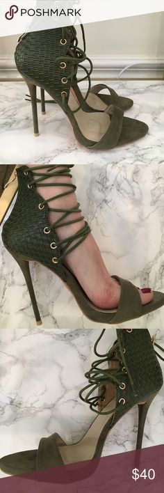 Lace up heels! Lace up sandal heels. Army green, suede and patchwork leather. Brand new! Shoes Heels