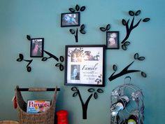 Árbol genealógico con rollos de carton | Reciclar | Fotografías con familia | Via www.sweethings.net