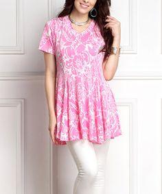 Pink Floral Inset V-Neck Tunic - Plus #zulily #zulilyfinds