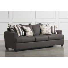 Levon Charcoal Sofa ❤ liked on Polyvore featuring home, furniture, sofas, charcoal furniture, charcoal gray furniture, dark gray furniture, dark gray couch and charcoal gray sofa