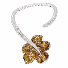 Necklace in 18-carat white gold with white, autum Icy and champagne diamonds by de Grisogono