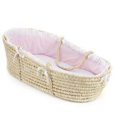 Badger Basket Moses Basket with Liner, Pink Gingham