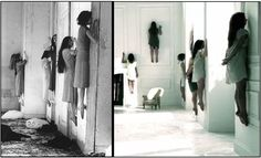 """""""American Horror Story"""" recently released a teaser for """"Coven"""" season 3. It features girls facing a wall floating in the air. It reminded me of a still that I posted some time ago of a performance by German dancer, choreographer Pina Bausch's 1977 piece called """"Blaubart"""" (""""Bluebeard""""). Did AHS borrow this concept and story line from Pina?? Can't wait to find out!! (Left) A still from Pina Bausch's """"Blaubart"""" performance. (Right) A screenshot from the """"American Horror Story"""" promo video."""
