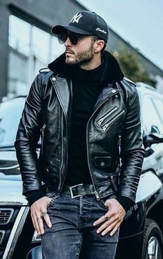 Jackets For Stylish Men. Jackets are a vital part of every single man's closet. Men will need outdoor jackets for a number of activities as well as some varying weather conditions. Biker Leather, Leather Men, Black Leather, Stylish Men, Men Casual, Casual Wear, Stylish Jackets, Casual Jackets, Men's Jackets