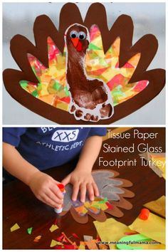 Tissue Paper Stained Glass Turkey Footprint