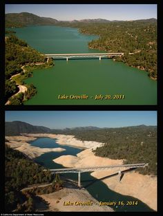 Now a river: What was once Lake Oroville now resembles a river at the point a bridge crosses it